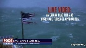 Tattered Flag as Hurricane Florence Approaches