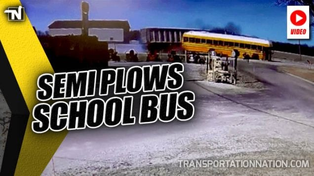 Semi Plows School Bus