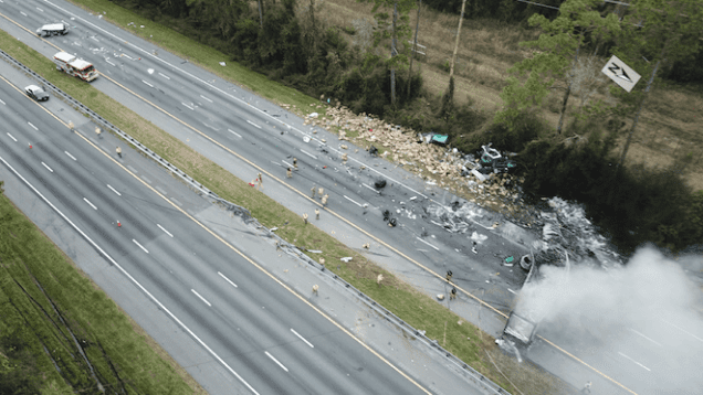 Aerial view of Fatal Florida Crash