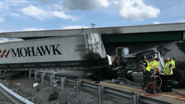 Big Rig Plunges Off Of I-81 Overpass