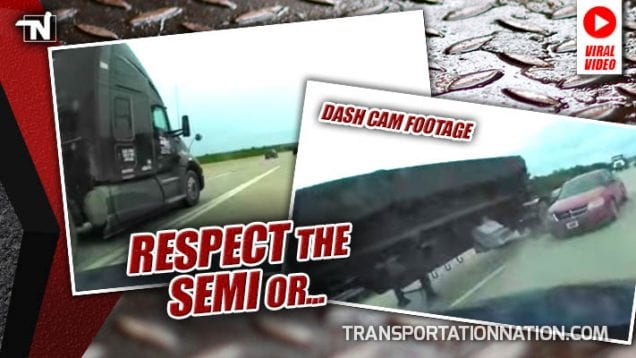 DASH CAM- 18-Year-Old Motorist Doesn't Respect Semi Then Goes For A Spin