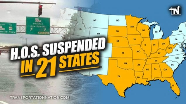 HOS Suspended in 21 States as Barry makes landfall