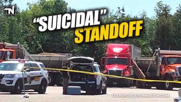 suicidal standoff with trucker at st igance truck stop in michigan