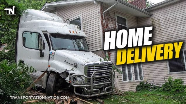 usps tractor trailer crashes into home in meriden connecticut
