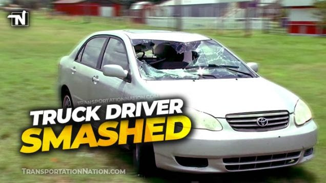 Truck Driver Smashes through Toyota Windshield