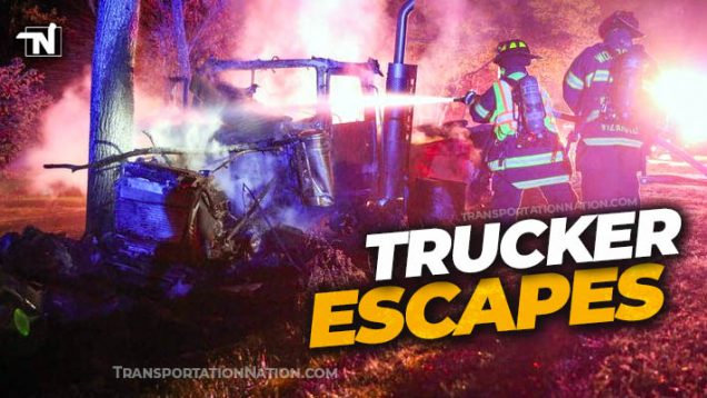 trucker escapes firey crash in woodstock illinois
