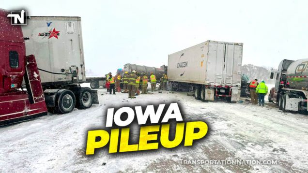 Pileup in Iowa Trucker Killed