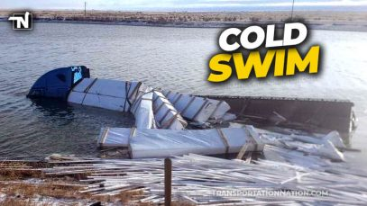 Trucker takes a cold swim in Wyoming